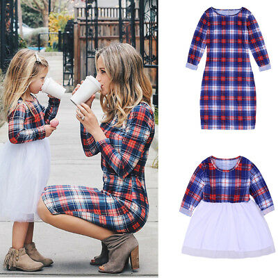 Mother and Daughter Plaid Clothes Parent-child dress Family Matching Outfits Set