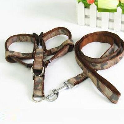 Dogs Leads Puppy Walking Camouflage Harness Leash Set Adjustable