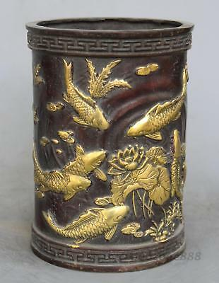 China Dynasty Bronze Carving Gilt Lotus Flower fish Old Brush Pot Pencil Vase