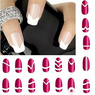 24 Sheets French Edge Tips Guides White Form Nail Art Stickers Fringe Manicure