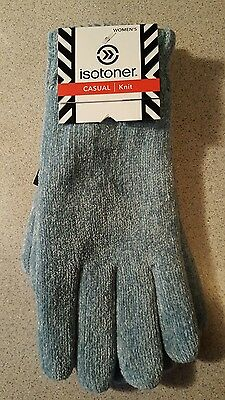 Women's Isotoner Casual Knit Gloves NWT Turq Blue One Size