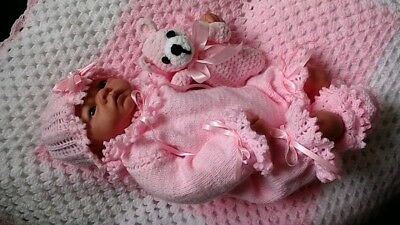 "Hand Knitted 3 Piece Romper Set for 19""-22"" Reborn or 0-3months baby girl"