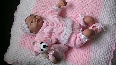 "Hand Knitted Angel Top and Short Set for 19""-22"" Reborn or 0-3months baby girl"