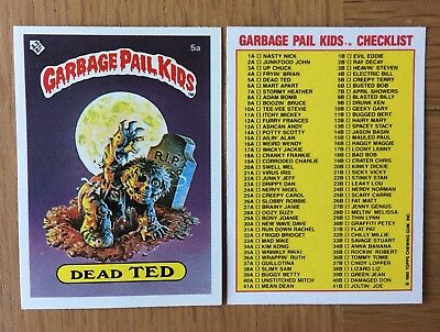Dead Ted 5a ~ UK Garbage Pail Kids Series 1 (1985)Check-List Variation Card~Mint