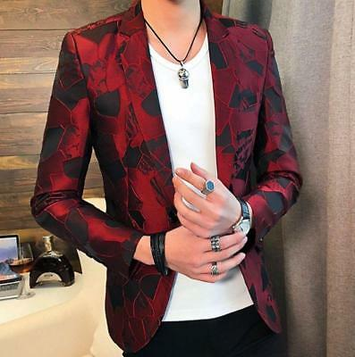 Mens Lapel Suit Blazer Floral Bar Coat Jackets Slim Fit Formal Dress Jakets New