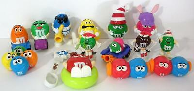 Collectible M&M Action Figures With Toppers And Complete Set Of Mini Dispensers