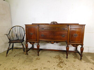 Antique '30s Fancy Burl Walnut Carved Jacobean Sideboard Credenza Record Cabinet