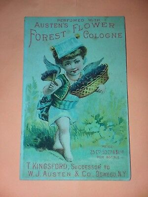 1800's VICTORIAN TRADE CARD, Austens Forest Flower Cologne W.J. Austen & Co NY