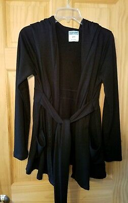 Old Navy Maternity black tie front hooded cardigan, size small