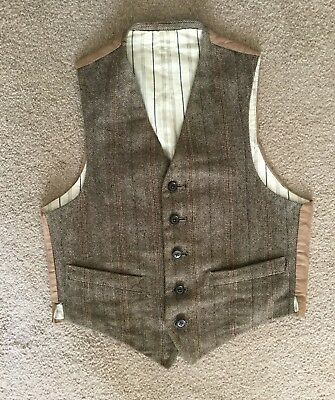 Genuine 1940's Small Boys Tweed Waistcoat Utility CC41
