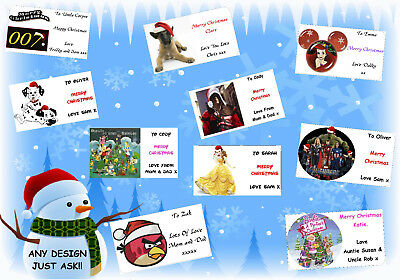 21 / 16 personalised CHRISTMAS gift labels stickers tags xmas ANY NAME MESSAGE 1