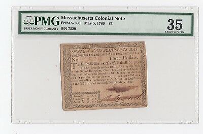 Massachusetts Colonial Note Fr#MA-280 May 5, 1780 $3 (PMG) 35 Choice Very Fine