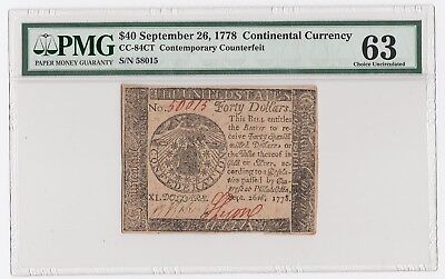 Continental Currency Fr#CC-84CT $40 Sept 26, 1778 Contemporary Counterfeit PMG63