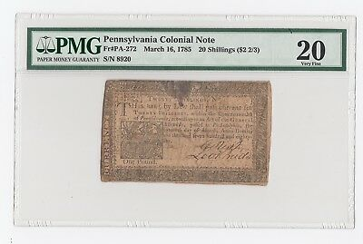 Pennsylvania Colonial Note Fr#PA-272 March 16, 1785 20 Shillings ($2 2/3) PMG 20