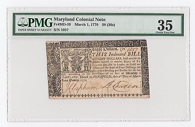 Maryland Colonial Note Fr#MD-59 March 1, 1770 $8 (36s) (PMG) 35 Choice Very Fine