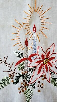 Vintage CHRISTMAS embroidered Runner-Doily/Candles-Pointsettias