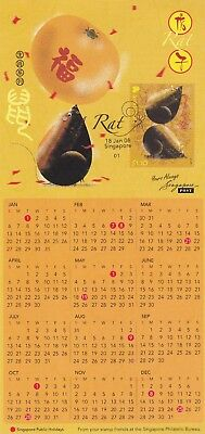"Singapore, 2008, ""year Of Rat"" Stamp On Gpo Philatelic Bureau Card Fresh"