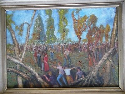 Figures in a Woodland Clearing, vintage 1960s oil, Oxford painter L. F. Herbert