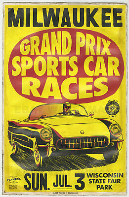 1950's Corvette Milwaukee Wisconsin Race Vintage Advertising Poster 11 x 17