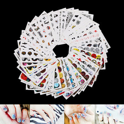 48sheets nail art water decals skull halloween manicure transfer stickers lot HC