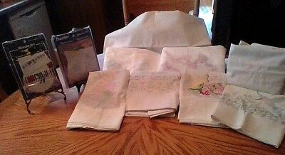 Lot of 8 Vintage Stamped Pillowcases for Cross Stitch + 3 Cases w/o Mates.  New.