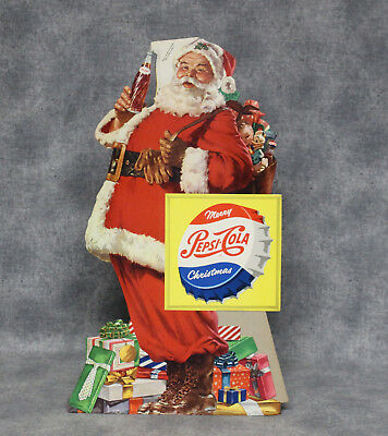Vintage 1950's Pepsi-Cola Santa Claus Cardboard Standup Counter Display, NOS