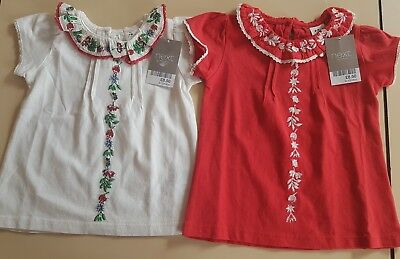Bnwt X2 Pretty Baby Girl Summer T Shirts, In Red & White, By Next,  9-12 Months