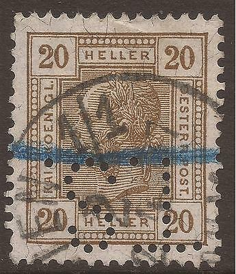 AUSTRIA. 1906. PERFIN. TS INVERTED. 20h BROWN. PERF 13 x 12 1/2. NO VARNISH. USE