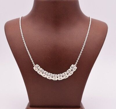 """16"""" Polished Byzantine Bar Station Necklace Chain Real Sterling Silver 925"""