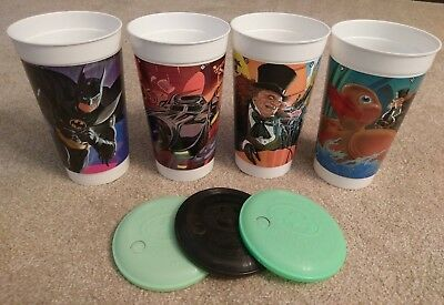 1992 Batman Returns McDonalds Cups; Lot of 4 cups; 3 lids - Batman, Penguin
