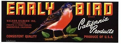 EARLY BIRD Brand, Robin, Bakersfield *AN ORIGINAL VEGETABLE CRATE  LABEL* C35