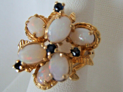 Vintage Estate~Fire Opals and Saphires 14k Gold~ Ladies Cocktail Ring size 6