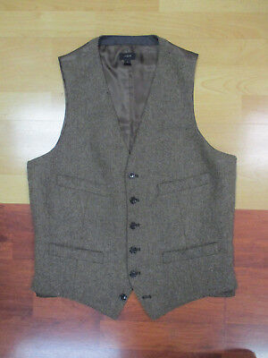 J.Crew Brown Herringbone Tweed Moon Wool Vest - Small