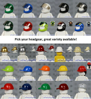 LEGO - Minifigure Helmets & Caps - PICK YOUR STYLE - Racers Motorcycle Car Lot