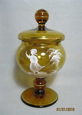 Mary Gregory Tall Pedestal Covered Compote / Candy - W.Germany