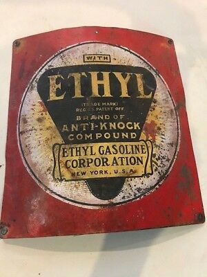 VINTAGE ORIGINAL VISIBLE GAS PUMP ETHYL  SIGN. ***rare***