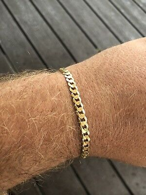 """Mens Miami Cuban Link Bracelet 14k Gold Over Real Solid 925 Silver 5mm Italy 8"""""""