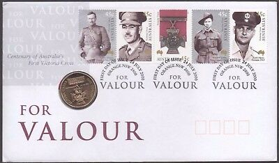 💰2000 Australia PNC - FOR VALOUR : Victoria Cross $1 Coin And Stamp Set.