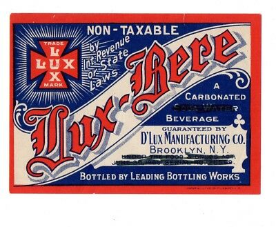 1920s D'LUX MFGR CO, BROOKLYN, NEW YORK LUX-BERE PROHIBITION BEVERAGE LABEL