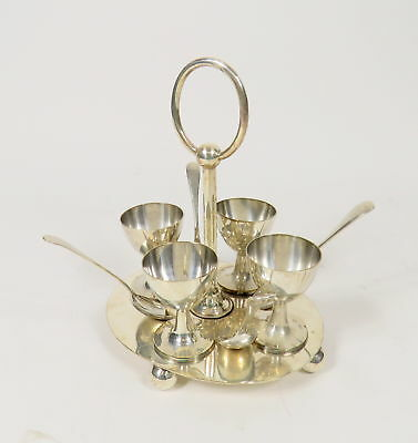 John Sherwood & Sons Sheffield 9 Pieces Silver Egg Server + 4 Spoons