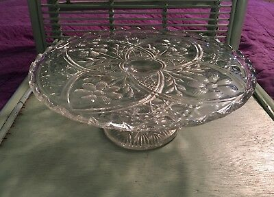 Vintage Pedestal Cake Stand Clear Round Pressed Glass Flower