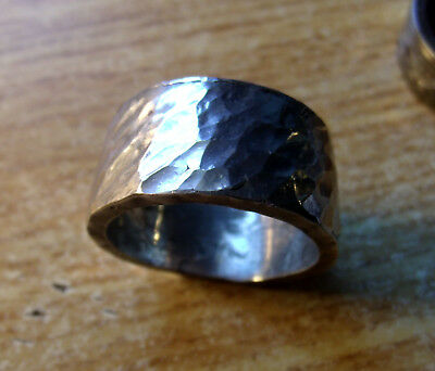 Hammered 925 Silver Viking Ring Size 12, .69Oz Made From A Morgan Silver Dollar