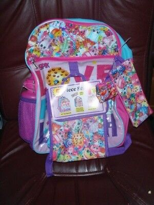 """Shopkins 16"""" Backpack 5 Piece Girls Back to School Book Bag Lunch New with Tags"""