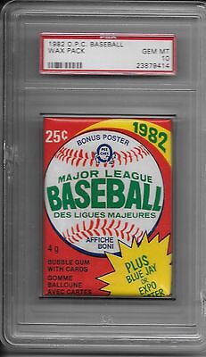 1982 O Pee Chee OPC Baseball Wax Pack PSA 10 Canadian Topps Pop 3