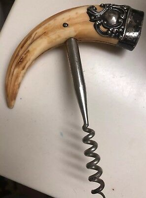 Antique Sterling Silver Cap Boars Tusk Cork Screw opener