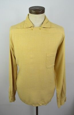 Vintage 1950s Yellow Rock n Roll 2 button Pull Over Shirt by La Scala Size Large