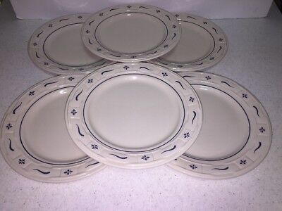 """Set Of 6 Longaberger Pottery Woven Traditions  Blue 10"""" Dinner Plates USA"""