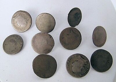 Rare Lot of 10 Antique 1700's German & France Silver Coin Buttons 120 Eine Regem