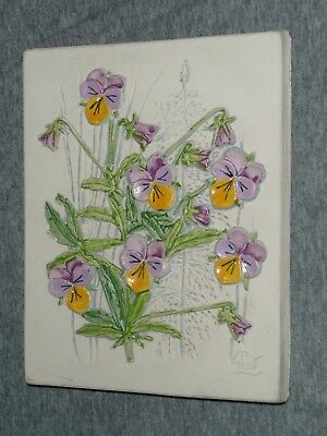 JIE GANTOFTA Sweden Ceramic Art Tile Wall Plaque Signed AIMO Design - WILD PANSY