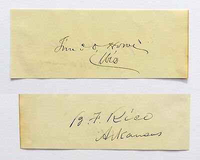Timothy Howe and Benjamin Rice SENATORS CIVIL WAR WISCONSIN ARKANSAS AUTOGRAPH